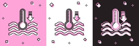 Set Water thermometer measuring heat and cold icon isolated on pink and white, black background. Thermometer equipment showing hot or cold weather. Vector Illustration