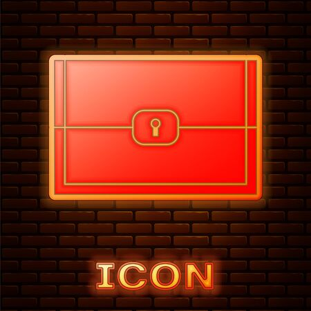 Glowing neon Chest for game icon isolated on brick wall background. Vector Illustration Illustration