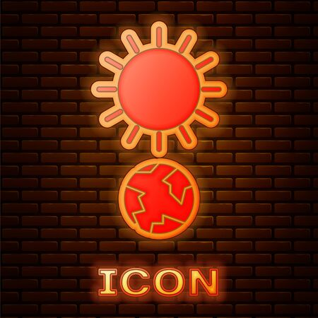 Glowing neon Solstice icon isolated on brick wall background. Vector Illustration