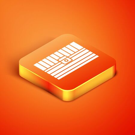 Isometric Antique treasure chest icon isolated on orange background. Vintage wooden chest with golden coin. Vector Illustration