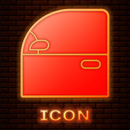 Glowing neon Car door icon isolated on brick wall background. Vector Illustration Vettoriali