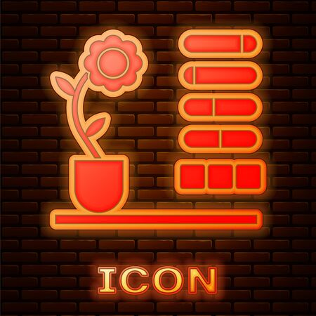 Glowing neon Flower status icon isolated on brick wall background. Vector Illustration