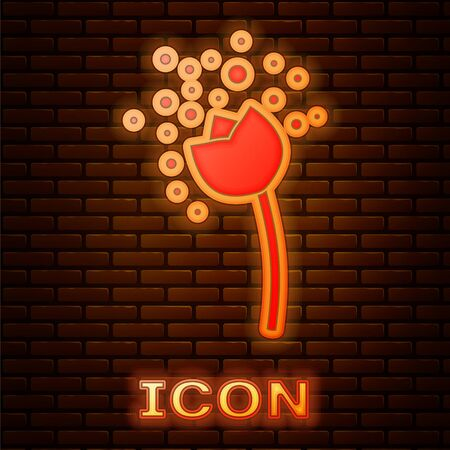 Glowing neon Flower producing pollen in atmosphere icon isolated on brick wall background. Vector Illustration