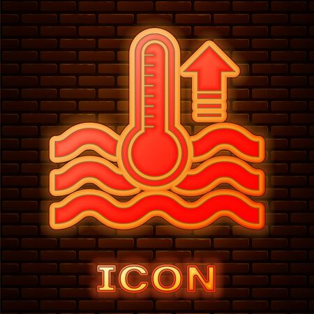 Glowing neon Water thermometer measuring heat and cold icon isolated on brick wall background. Thermometer equipment showing hot or cold weather. Vector Illustration Vectores