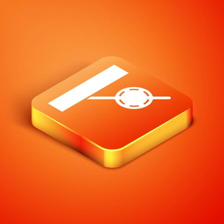 Isometric Pirate eye patch icon isolated on orange background. Pirate accessory. Vector Illustration