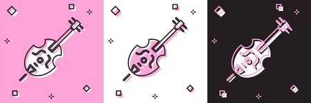Set Violin icon isolated on pink and white, black background. Musical instrument. Vector Illustration