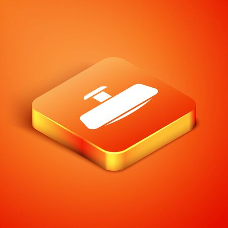 Isometric Car mirror icon isolated on orange background. Vector Illustration