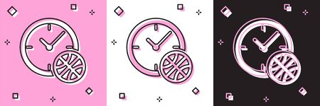 Set Clock with basketball ball inside icon isolated on pink and white, black background. Basketball time. Sport and training. Vector Illustration Çizim