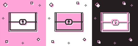 Set Chest for game icon isolated on pink and white, black background. Vector Illustration