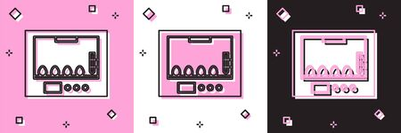 Set Incubator for eggs icon isolated on pink and white, black background. Vector Illustration