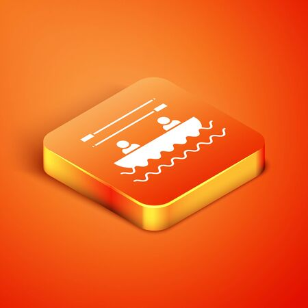 Isometric Boat with oars and people icon isolated on orange background. Water sports, extreme sports, holiday, vacation, team building. Vector Illustration