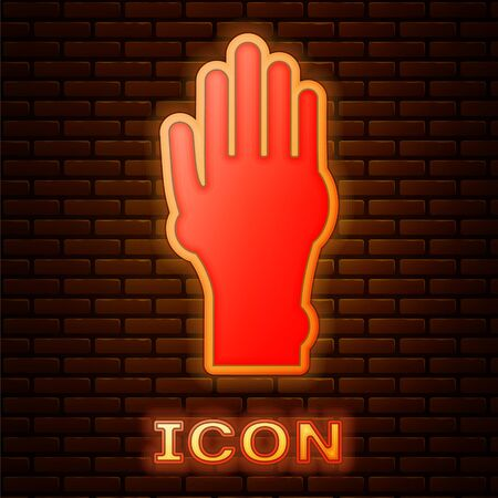 Glowing neon Hand with psoriasis or eczema icon isolated on brick wall background. Concept of human skin response to allergen or chronic body problem. Vector Illustration Illusztráció
