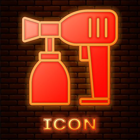 Glowing neon Paint spray gun icon isolated on brick wall background. Vector Illustration