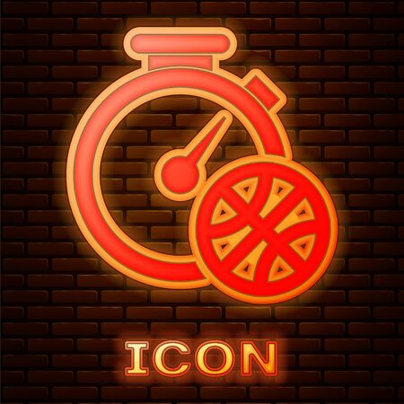 Glowing neon Stopwatch with basketball ball inside icon isolated on brick wall background. Basketball time. Sport and training. Vector Illustration Çizim