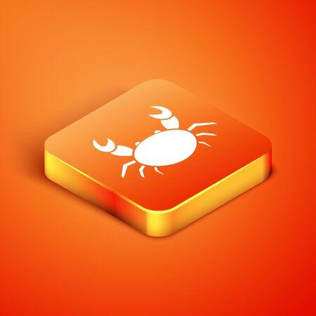Isometric Crab icon isolated on orange background. Vector Illustration