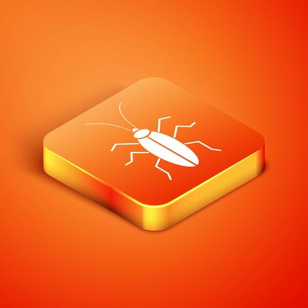 Isometric Cockroach icon isolated on orange background. Vector Illustration Foto de archivo - 137483889
