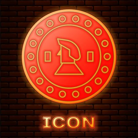 Glowing neon Pirate coin icon isolated on brick wall background. Vector Illustration