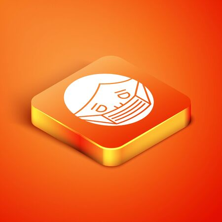 Isometric Man face in a medical protective mask icon isolated on orange background. Quarantine. Vector Illustration