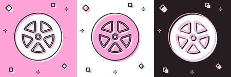 Set Car wheel icon isolated on pink and white, black background. Vector Illustration