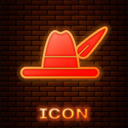 Glowing neon Oktoberfest hat icon isolated on brick wall background. Hunter hat with feather. German hat. Vector Illustration Ilustracja