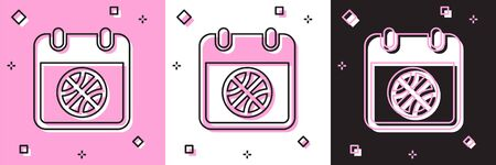 Set Basketball on sport calendar icon isolated on pink and white, black background. Vector Illustration