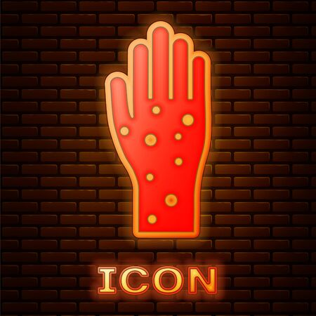 Glowing neon Hand with psoriasis or eczema icon isolated on brick wall background. Concept of human skin response to allergen or chronic body problem. Vector Illustration