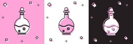 Set Glass bottle with magic elixir icon isolated on pink and white, black background. Computer game asset. Vector Illustration