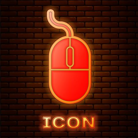 Glowing neon Computer mouse icon isolated on brick wall background. Optical with wheel symbol. Vector Illustration Illustration