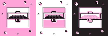 Set Opened antique treasure chest icon isolated on pink and white, black background. Vintage wooden chest with golden coin. Vector Illustration Illustration