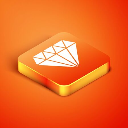 Isometric Diamond icon isolated on orange background. Jewelry symbol. Gem stone. Vector Illustration Illusztráció