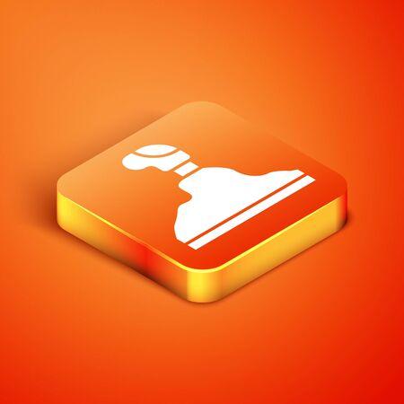 Isometric Gear shifter icon isolated on orange background. Transmission icon. Vector Illustration