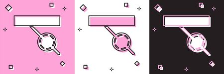 Set Pirate eye patch icon isolated on pink and white, black background. Pirate accessory. Vector Illustration