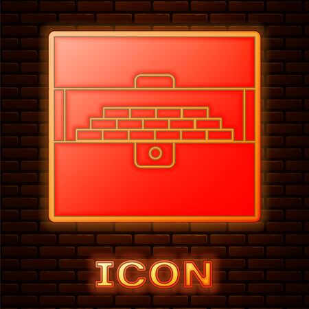 Glowing neon Opened antique treasure chest icon isolated on brick wall background. Vintage wooden chest with golden coin. Vector Illustration Illustration