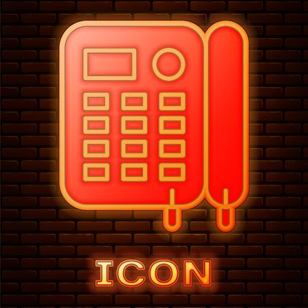 Glowing neon Telephone icon isolated on brick wall background. Landline phone. Vector Illustration Foto de archivo - 137483639