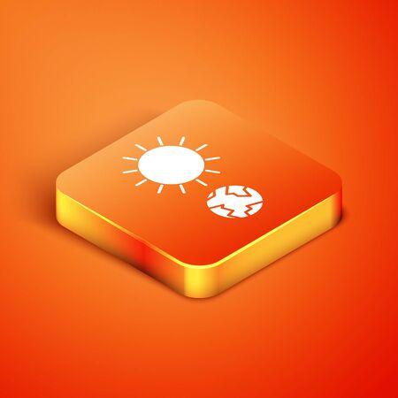 Isometric Solstice icon isolated on orange background. Vector Illustration