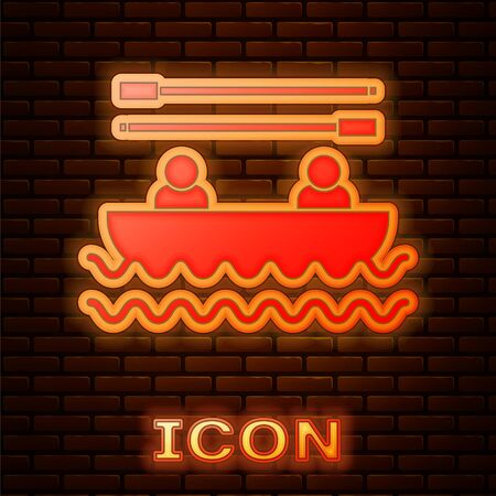 Glowing neon Boat with oars and people icon isolated on brick wall background. Water sports, extreme sports, holiday, vacation, team building. Vector Illustration