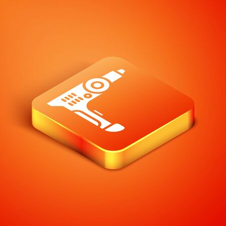 Isometric Electric drill machine icon isolated on orange background. Repair tool. Vector Illustration 일러스트