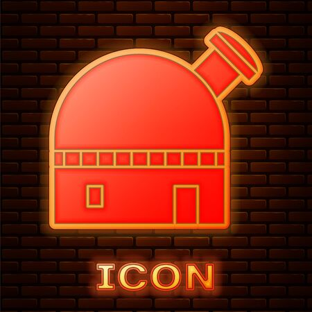 Glowing neon Astronomical observatory icon isolated on brick wall background. Vector Illustration
