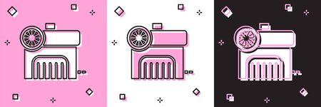 Définir l'icône du compresseur d'air isolé sur fond rose et blanc, noir. Illustration vectorielle