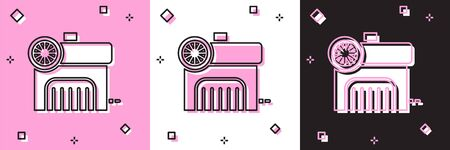 Set Air compressor icon isolated on pink and white, black background. Vector Illustration