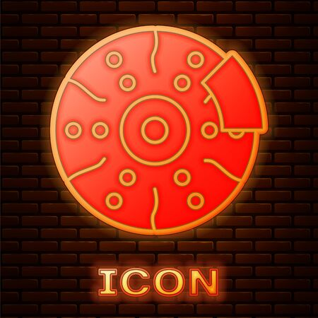 Glowing neon Car brake disk with caliper icon isolated on brick wall background. Vector Illustration