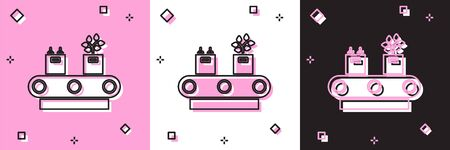 Set Conveyor belt with cardboard box icon isolated on pink and white, black background. Vector Illustration Vectores