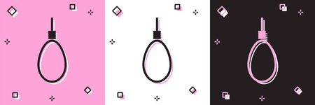 Set Gallows rope loop hanging icon isolated on pink and white, black background. Rope tied into noose. Suicide, hanging or lynching. Vector Illustration