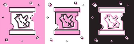 Set Pirate treasure map icon isolated on pink and white, black background. Vector Illustration
