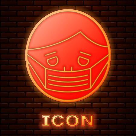 Glowing neon Man face in a medical protective mask icon isolated on brick wall background. Quarantine. Vector Illustration