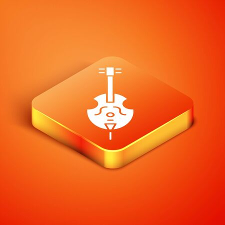 Isometric Violin icon isolated on orange background. Musical instrument. Vector Illustration