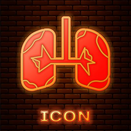 Glowing neon Lungs icon isolated on brick wall background. Vector Illustration