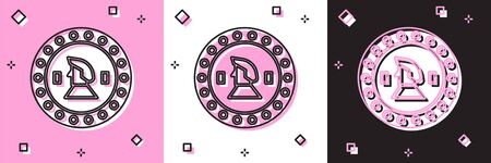 Set Pirate coin icon isolated on pink and white, black background. Vector Illustration