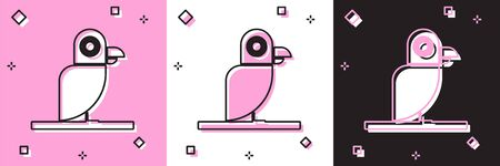Set Pirate parrot icon isolated on pink and white, black background. Vector Illustration Illustration