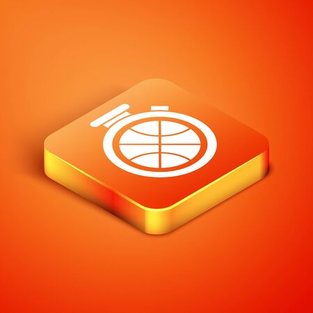 Isometric Stopwatch with basketball ball inside icon isolated on orange background. Basketball time. Sport and training. Vector Illustration Çizim